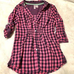 Japna Kids Navy & Pink Plaid Tunic Size 8